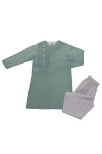 Aqua blue & white cotton silk embroidered kurta with pyjama