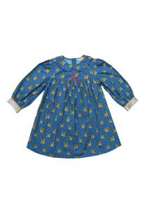 Blue cotton pink bow detail dress