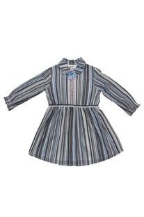 Blue cotton striped dress with gathered waist
