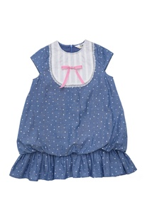 Blue cotton star print balloon dress with bib & lace detail