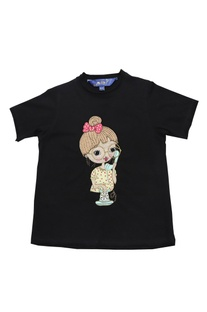 Black single jersey embellished t-shirt