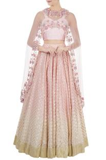 Lilac dupion silk dori & sequin blouse with chanderi lehenga & net cape