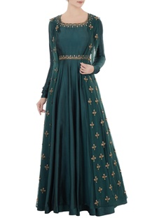 Teal blue silk embroidered anarkali with lycra pants & net jacket