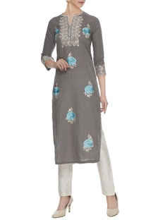 Grey linen zari & resham thread embroidered floral kurta