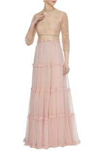 Peach chiffon tiered style resham embroidered gown