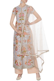 Pale peach net & crepe silk embroidered jacket with pants & dupatta