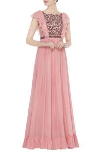 Pink chiffon layered ruffle sleeve gown