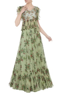 Green foliage zardozi hand embroidered peplum skirt set