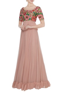 Rose gold hand embroidered floral blouse with pleated skirt