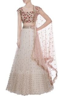 Off-white net sequin lehenga with cherry blossom hand embroidered blouse & dupatta