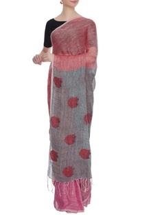 Pale pink & grey linen jamdani saree with blouse piece