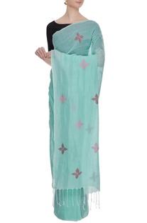 Pale blue cotton linen jamdani saree with blouse piece