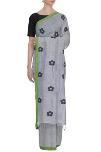 Pale grey cotton linen jamdani saree with blouse piece