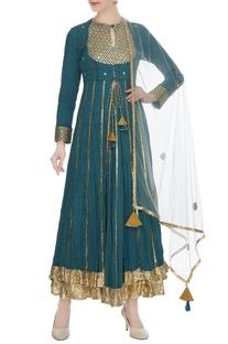 Teal organic cotton gota & sequin work layered kurta with dupatta
