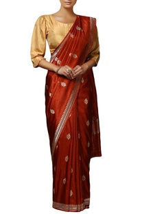 Rust mulberry silk handwoven butidaar saree with blouse piece
