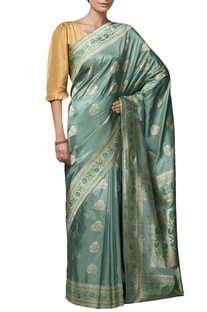 Teal blue mulberry silk brocade saree with blouse piece