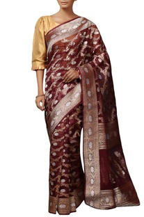 Bordeaux  mulberry silk brocade saree with blouse piece