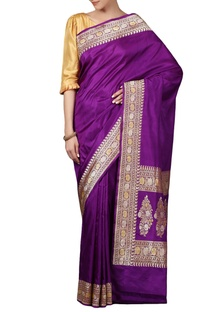 Purple  mulberry silk brocade saree with blouse piece