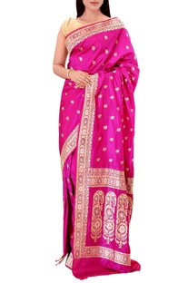 Orchid purple  mulberry silk brocade saree with blouse piece