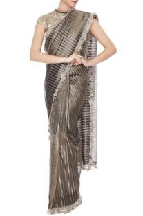 Metallic brown & silver tissue silk saree with lace gota blouse