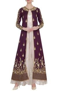 Burgundy zardozi embroidered jacket with organza gown