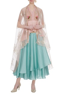 Pastel blue dupion crepe layered skirt with blouse & cape