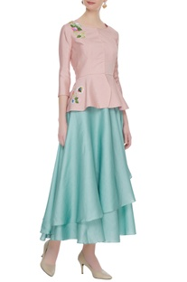 Pastel blue layered skirt with peplum blouse & cancan underlayer