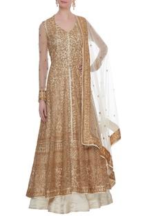 Ivory & beige net & satin zari & sequin floor length jacket with lehenga