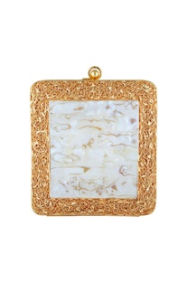 White mother of pearl & gold mesh square clutch