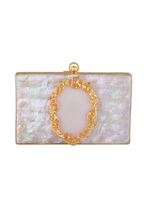 Pink & gold plated rectangle box clutch