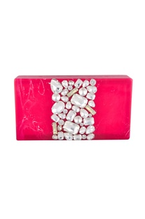 Hot pink rectangle box clutch
