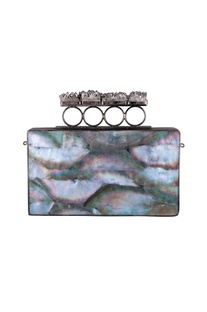 Multicolored mother of pearl rectangle clutch with detachable chain