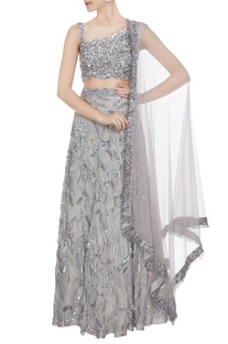 Silver hand embroidered tulle net lehenga with blouse & cutdana dupatta