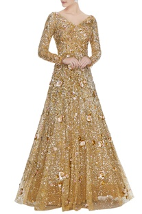 Gold and pink sequin & mirror work encrusted anarkali gown