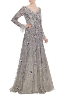 Silver hand embroidered & 3D floral motifs tulle net anarkali gown with feather trimmed sleeves
