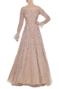 Champagne sequin embellished tulle net gown