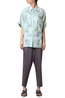 Sea green silk voile floral embroidered shirt