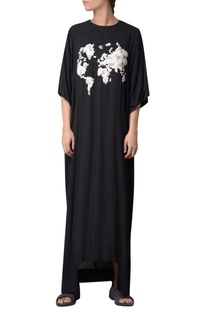 Black viscose slub hand embroidered maxi dress
