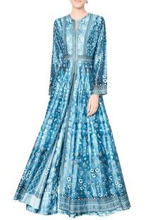 Blue chanderi silk ashvi jacket