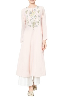 Blush pink cotton georgette embroidered maanika tunic