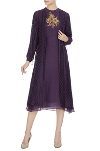 Purple chanderi hand embroidered dress with jacket