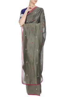 Grey chanderi hand embroidered saree with blouse