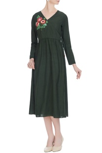 Dark green khadi hand work floral angrakha dress