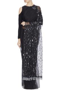 Black organza sequin embroidered saree with black petticoat