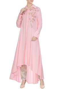 Pink double georgette sequin embroidered tunic