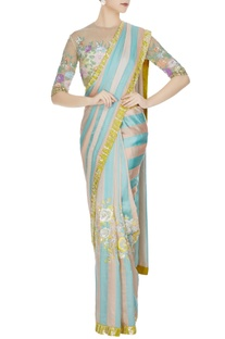 Aqua blue & peach satin chiffon sequin saree with beige net sequin blouse & peach petticoat