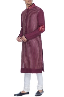 Maroon spun silk kurta with lace yoke & churidar