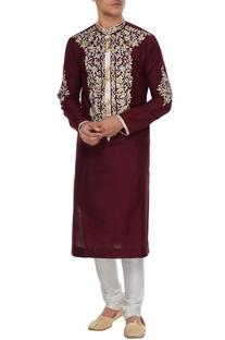 Maroon spun silk resham embroidered kurta & churidar