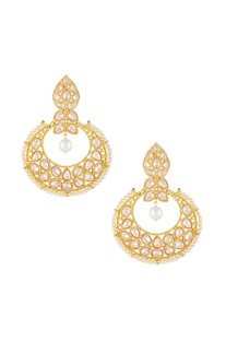Gold & white alloy big uncut chaandbala earring