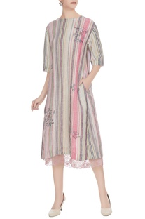 Multi-colored linen handwoven striped midi dress